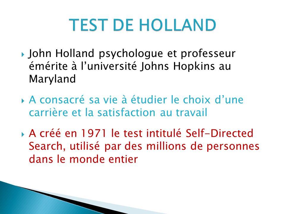 John Holland psychologue et professeur émérite à luniversité Johns Hopkins au Maryland A consacré sa vie à étudier le choix dune carrière et la satisf
