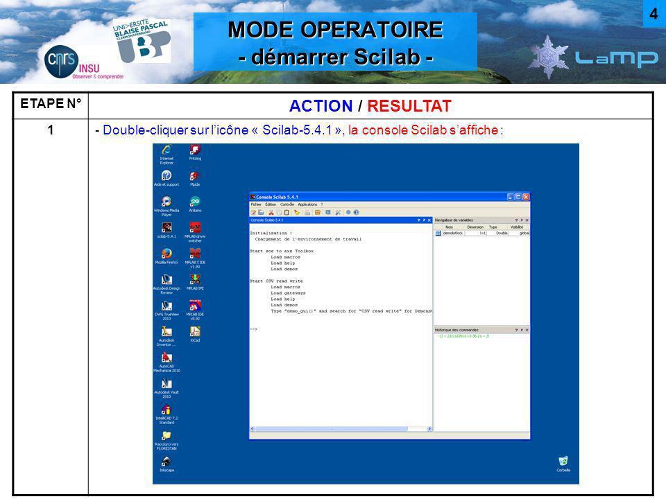 MODE OPERATOIRE - Lancer le script MIX.sce - ETAPE N° ACTION / RESULTAT 2- Cliquer sur Fichier > Exécuter (CTRL+E) et sélectionner le fichier MIX.sce, OU faire clic droit sur le fichier MIX.sce dans un explorateur de fichiers, puis « ouvrir avec Scilab ».