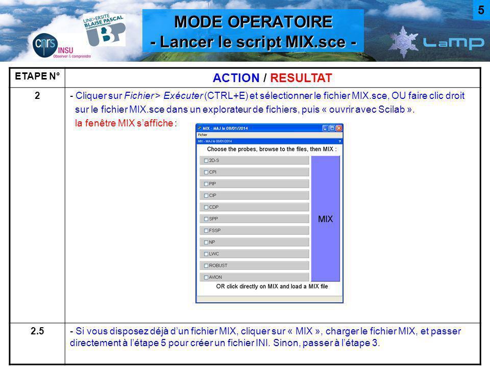 MODE OPERATOIRE - Choisir et « mixer » les fichiers - ETAPE N° ACTION / RESULTAT 3- Cocher la sonde voulue, (pour la 2D-S, choisir le format du fichier de données,.2DS ou.xls), puis cliquer sur « BROWSE » et sélectionner le fichier de données correspondant après une fenêtre de chargement, le chemin du fichier et un « OK » apparaissent : 4- Répéter létape 3 pour lensemble des sondes voulues, - puis cliquer sur « MIX », une fenêtre apparaît, - choisir lemplacement et le nom du fichier MIX.