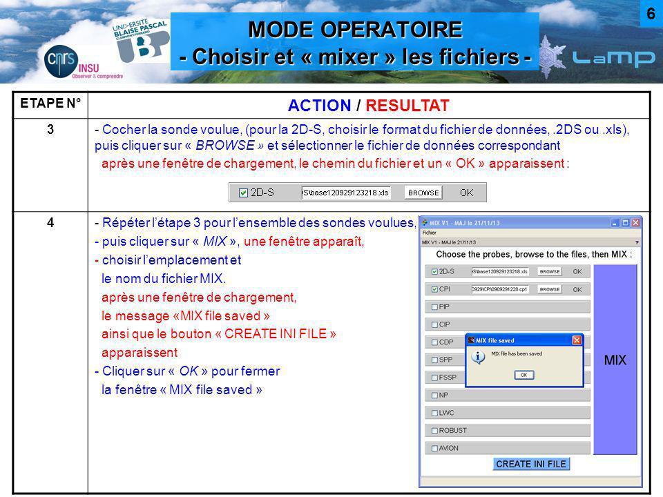 MODE OPERATOIRE - Choisir et « mixer » les fichiers - ETAPE N° ACTION / RESULTAT 3- Cocher la sonde voulue, (pour la 2D-S, choisir le format du fichie