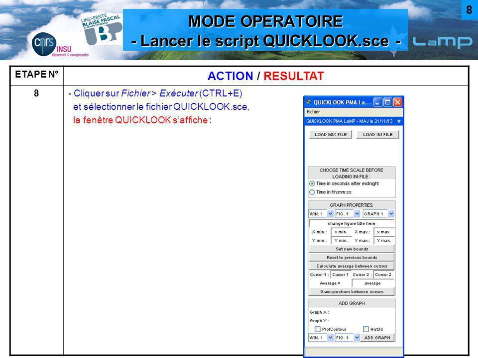 MODE OPERATOIRE - Lancer le script QUICKLOOK.sce - ETAPE N° ACTION / RESULTAT 8- Cliquer sur Fichier > Exécuter (CTRL+E) et sélectionner le fichier QU
