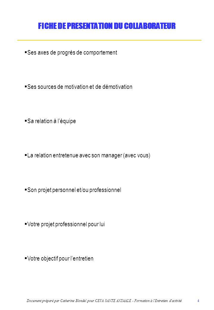 Document préparé par Catherine Blondel pour CEVA SANTE ANIMALE - Formation à l Entretien d activité 5 1.LANCER LENTRETIEN (noubliez pas de réfléchir aux craintes éventuelles de votre collaborateur vis-à-vis de cet entretien) 2.ECHANGER SUR SES RESSENTIS ET SES ATTENTES (Choisir les questions que vous souhaitez poser à votre collaborateur sur 2 des 4 dimensions proposées : entreprise, métier, équipe, manager) FIL CONDUCTEUR DE LENTRETIEN DACTIVITE