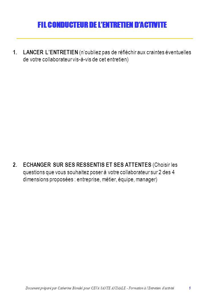 Document préparé par Catherine Blondel pour CEVA SANTE ANIMALE - Formation à l Entretien d activité 6 3.ANALYSER LA PERIODE ECOULEE (2 Compétences techniques, 2 Compétences comportementales, Actions de développement menées, Formations réalisées, 1 Objectif atteint et 1 objectif non atteint en plus (pour les cadres)) FIL CONDUCTEUR DE LENTRETIEN DACTIVITE