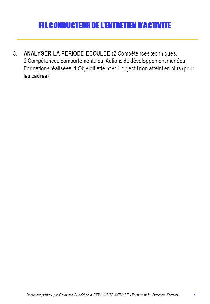 Document préparé par Catherine Blondel pour CEVA SANTE ANIMALE - Formation à l Entretien d activité 7 4.ORGANISER LA PERIODE A VENIR (Actions de développement proposées, 1 objectif donnant droit à un bonus (pour les cadres) et le plan daction associé (3Q2C) si nécessaire, Formations choisies pour améliorer certaines compétences évaluées dans létape précédente) FIL CONDUCTEUR DE LENTRETIEN DACTIVITE