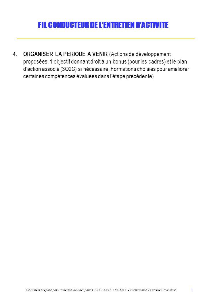 Document préparé par Catherine Blondel pour CEVA SANTE ANIMALE - Formation à l'Entretien d'activité 7 4.ORGANISER LA PERIODE A VENIR (Actions de dével