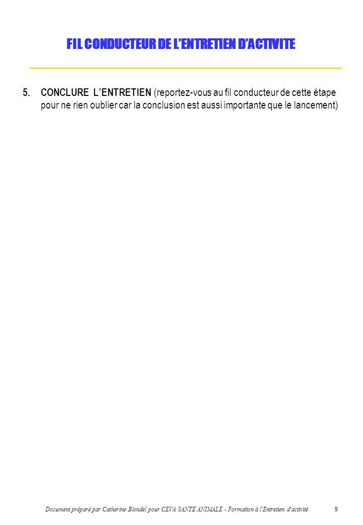Document préparé par Catherine Blondel pour CEVA SANTE ANIMALE - Formation à l'Entretien d'activité 8 5.CONCLURE LENTRETIEN (reportez-vous au fil cond