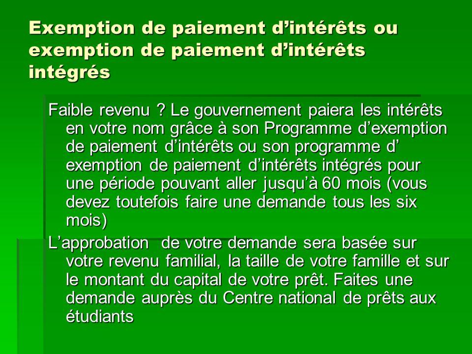 Exemption de paiement dintérêts ou exemption de paiement dintérêts intégrés Faible revenu .