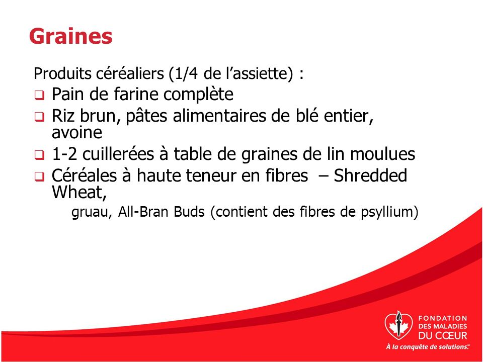 Graines Produits céréaliers (1/4 de lassiette) : Pain de farine complète Riz brun, pâtes alimentaires de blé entier, avoine 1-2 cuillerées à table de graines de lin moulues Céréales à haute teneur en fibres – Shredded Wheat, gruau, All-Bran Buds (contient des fibres de psyllium)