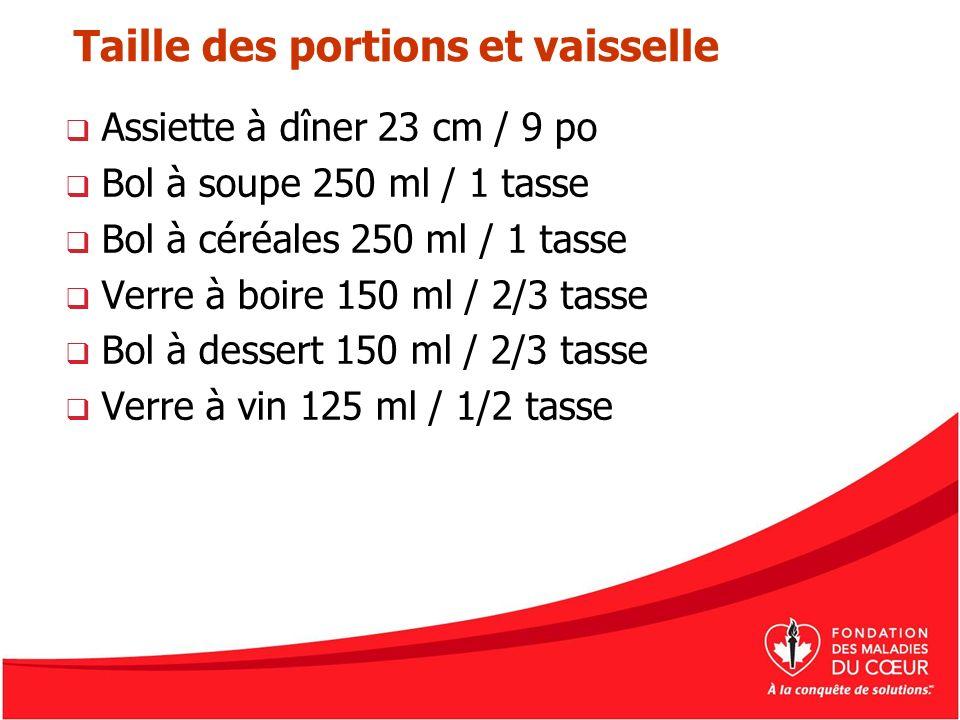 Taille des portions et vaisselle Assiette à dîner 23 cm / 9 po Bol à soupe 250 ml / 1 tasse Bol à céréales 250 ml / 1 tasse Verre à boire 150 ml / 2/3