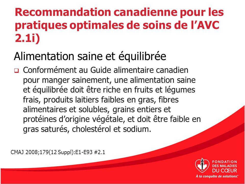 Recommandation canadienne pour les pratiques optimales de soins de lAVC 2.1i) Alimentation saine et équilibrée Conformément au Guide alimentaire canad