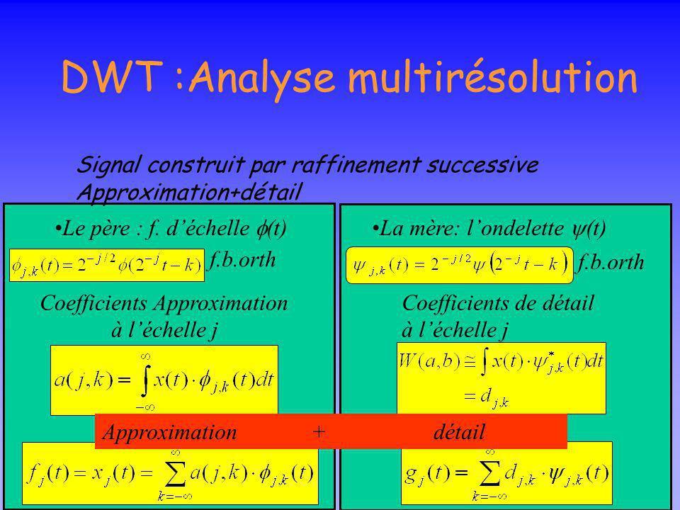 CWT: réelle ou complexe réelle Ondelettes réelles détection des transitions brutales dun signal complexe Ondelettes analytique voir lévolution tempore