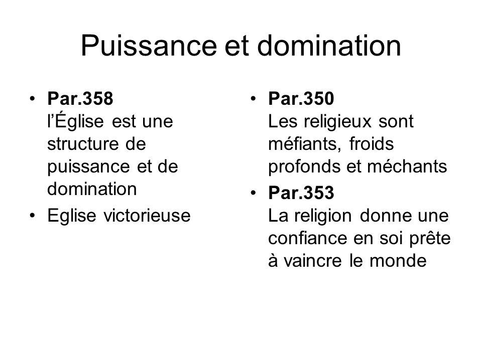 Puissance et domination Par.358 lÉglise est une structure de puissance et de domination Eglise victorieuse Par.350 Les religieux sont méfiants, froids