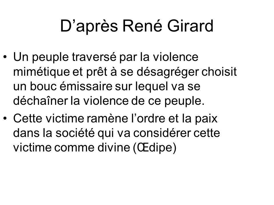 Daprès René Girard Un peuple traversé par la violence mimétique et prêt à se désagréger choisit un bouc émissaire sur lequel va se déchaîner la violen
