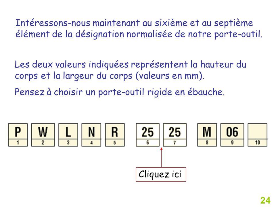 24 Cliquez ici Intéressons-nous maintenant au sixième et au septième élément de la désignation normalisée de notre porte-outil. Les deux valeurs indiq