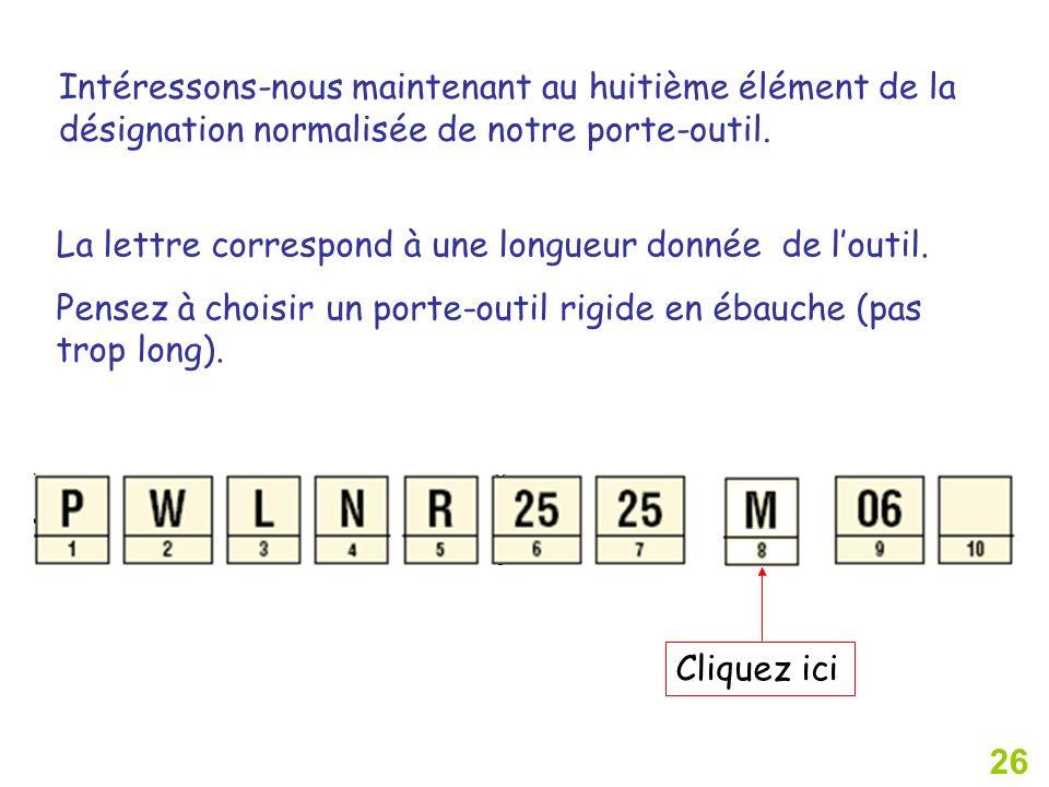 26 Cliquez ici Intéressons-nous maintenant au huitième élément de la désignation normalisée de notre porte-outil. La lettre correspond à une longueur