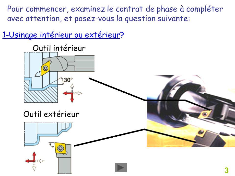 3 1-Usinage intérieur ou extérieur? Outil intérieur Outil extérieur Pour commencer, examinez le contrat de phase à compléter avec attention, et posez-
