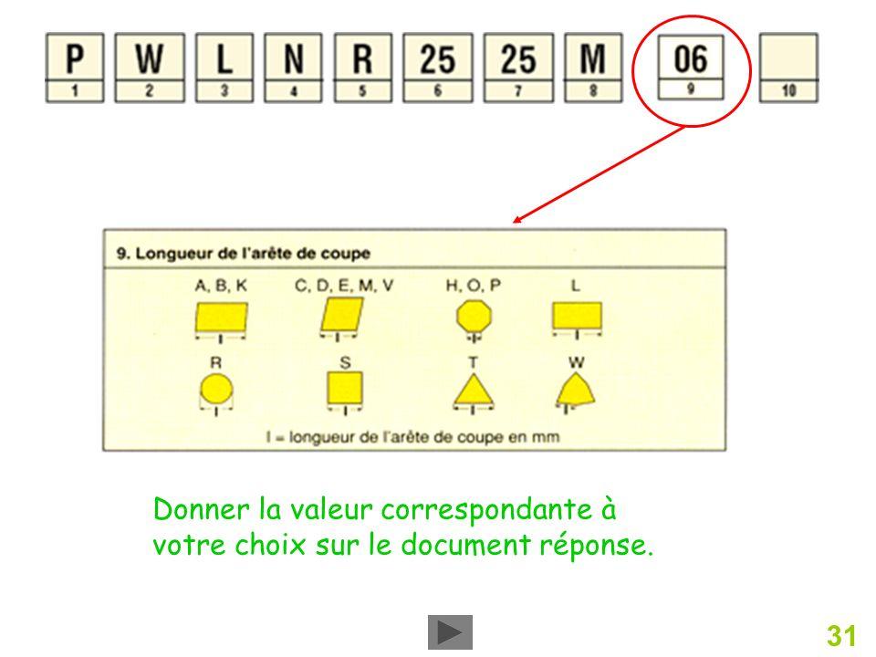 31 Donner la valeur correspondante à votre choix sur le document réponse.