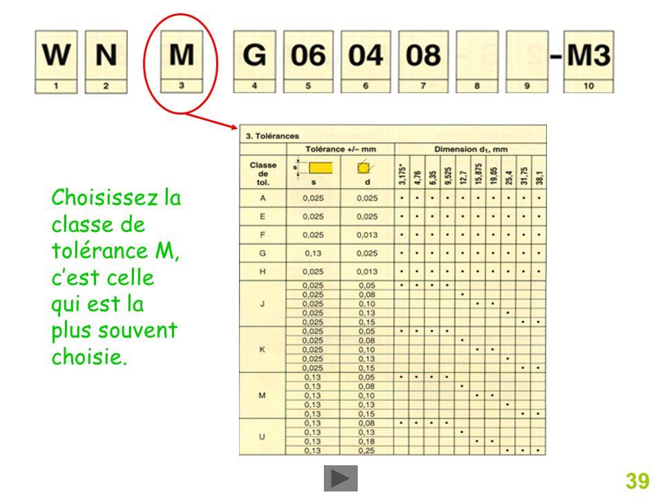 39 Choisissez la classe de tolérance M, cest celle qui est la plus souvent choisie.