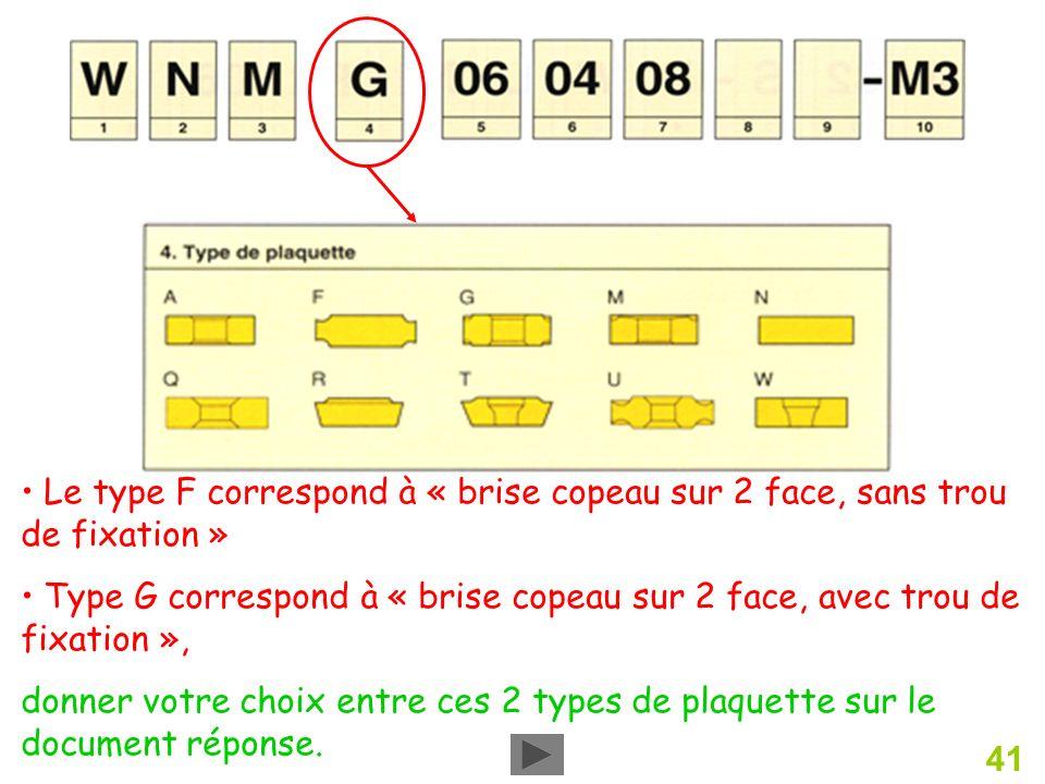 41 Le type F correspond à « brise copeau sur 2 face, sans trou de fixation » Type G correspond à « brise copeau sur 2 face, avec trou de fixation », donner votre choix entre ces 2 types de plaquette sur le document réponse.