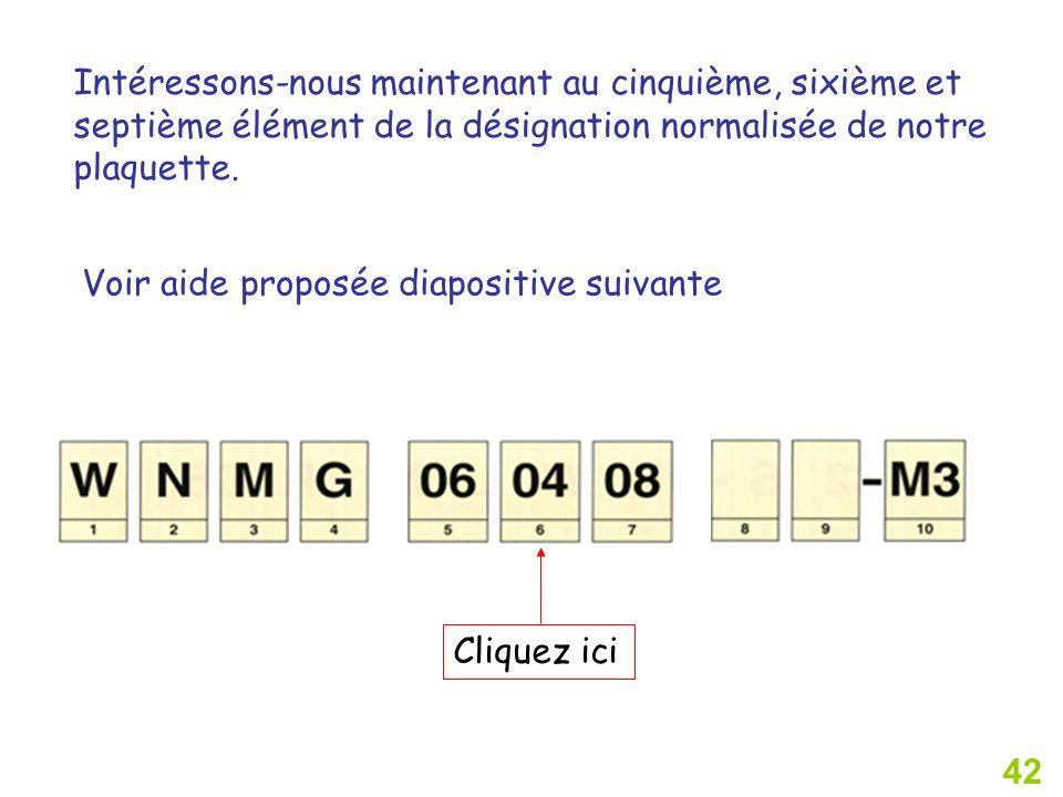 42 Intéressons-nous maintenant au cinquième, sixième et septième élément de la désignation normalisée de notre plaquette.