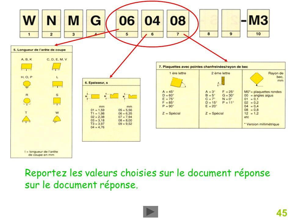 45 Reportez les valeurs choisies sur le document réponse sur le document réponse.