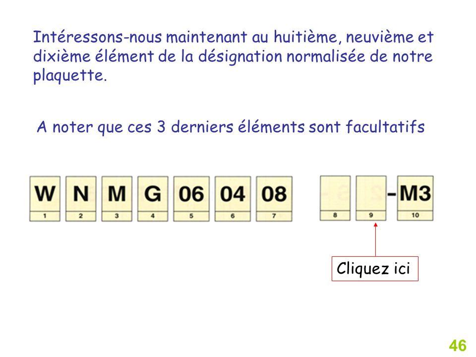 46 Intéressons-nous maintenant au huitième, neuvième et dixième élément de la désignation normalisée de notre plaquette.