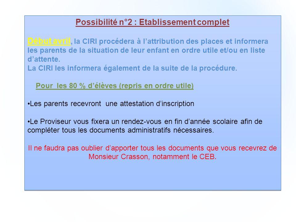 Possibilité n°2 : Etablissement complet Début avril, la CIRI procédera à lattribution des places et informera les parents de la situation de leur enfant en ordre utile et/ou en liste dattente.