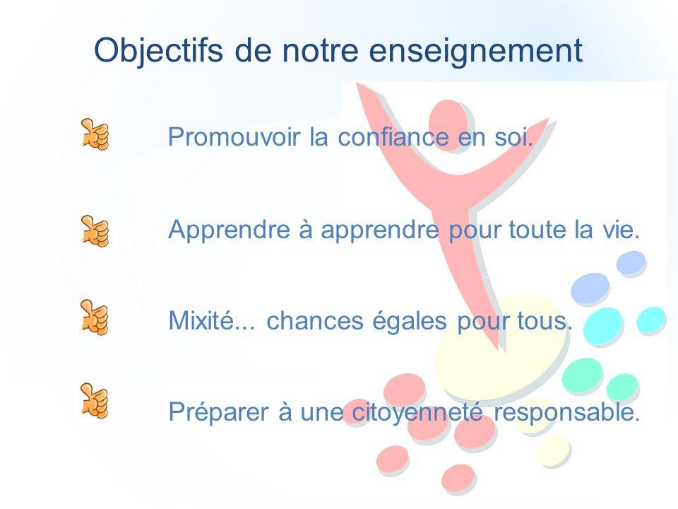 Objectifs de notre enseignement Promouvoir la confiance en soi.