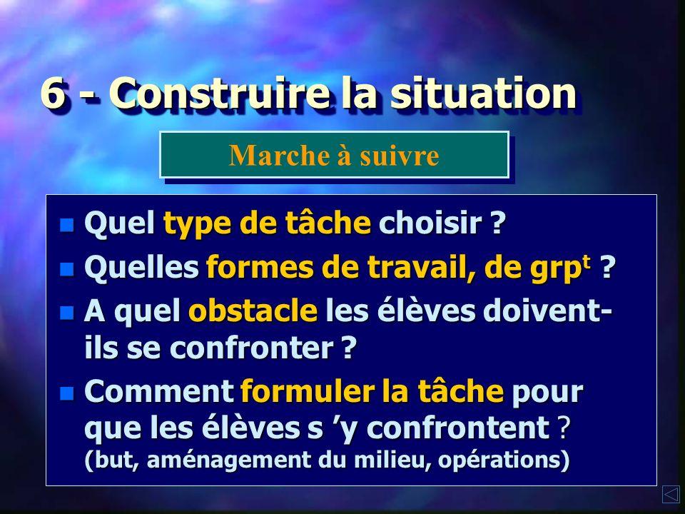 6 - Construire la situation n Quelle est la transf° recherchée ? n Quelles ressources solliciter ? n Quel thème d'étude choisir ? n Que doivent appren
