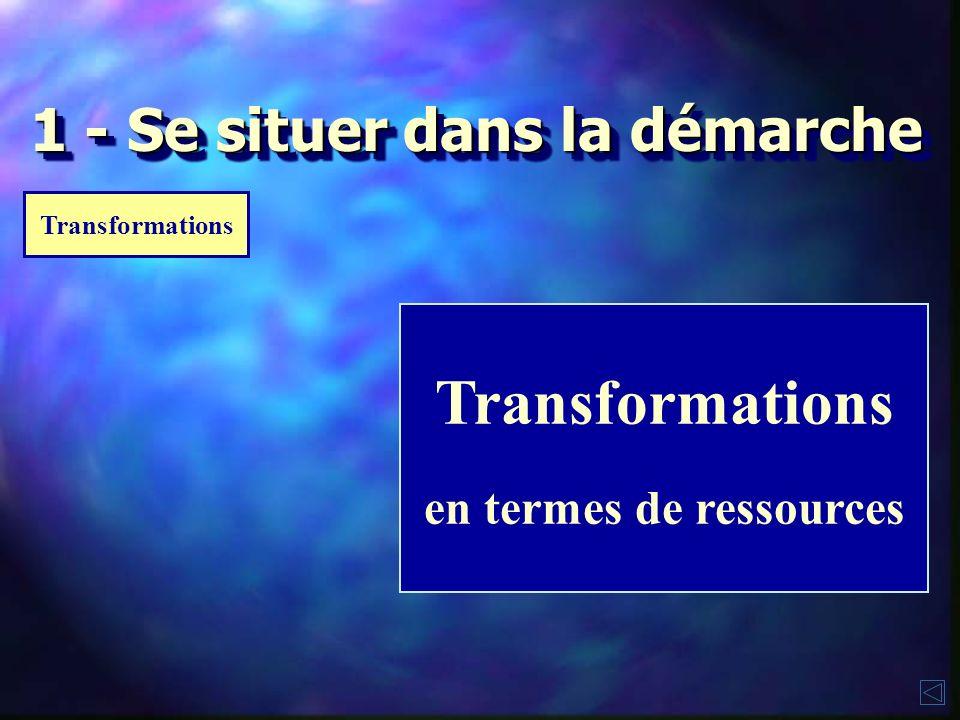 1 - Se situer dans la démarche Transformations en termes de ressources Transformations