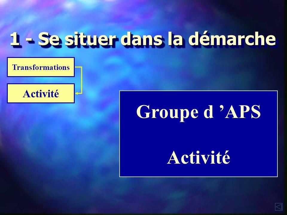 Groupe d APS Activité Transformations 1 - Se situer dans la démarche