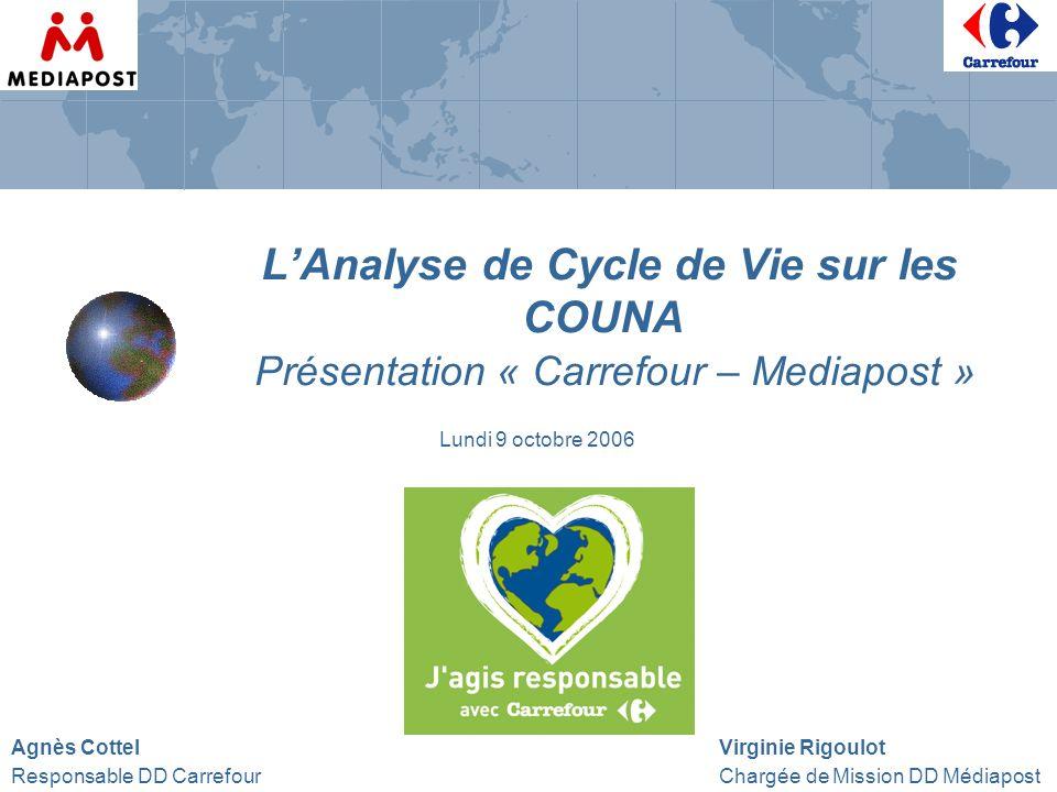 LAnalyse de Cycle de Vie sur les COUNA Présentation « Carrefour – Mediapost » Agnès Cottel Virginie Rigoulot Responsable DD Carrefour Chargée de Missi