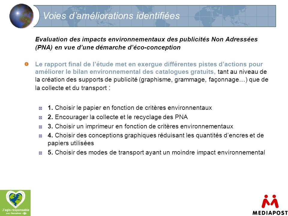 12 Voies daméliorations identifiées Evaluation des impacts environnementaux des publicités Non Adressées (PNA) en vue dune démarche déco-conception Le