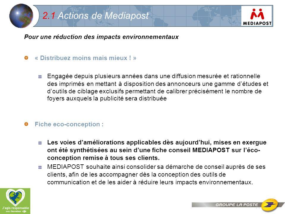 14 2.1 Actions de Mediapost Pour une réduction des impacts environnementaux « Distribuez moins mais mieux ! » Engagée depuis plusieurs années dans une