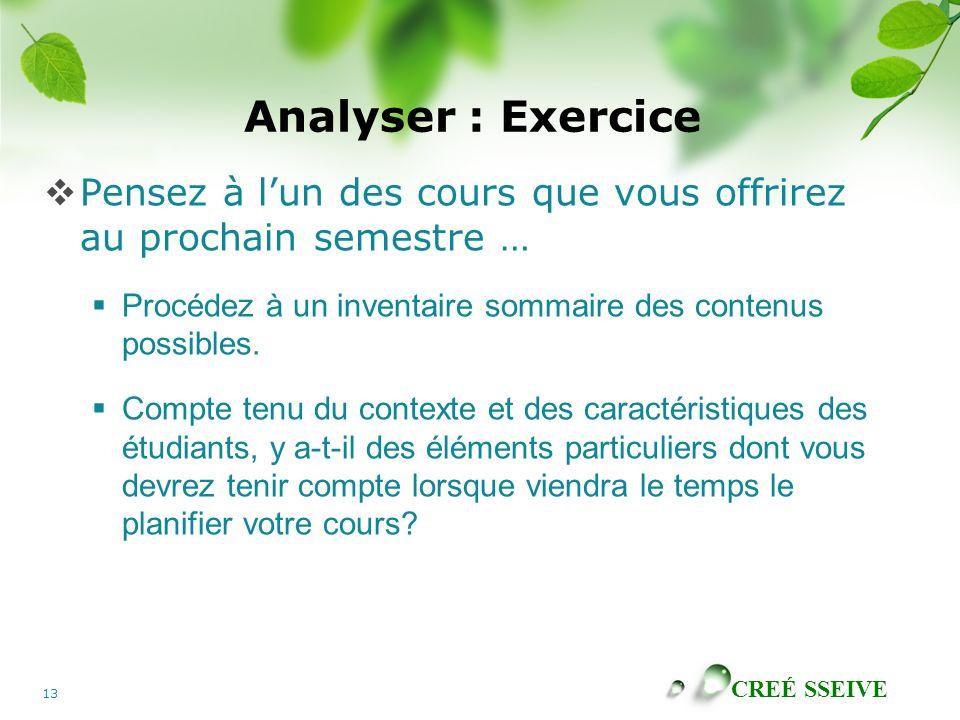 CREÉ SSEIVE 13 Analyser : Exercice Pensez à lun des cours que vous offrirez au prochain semestre … Procédez à un inventaire sommaire des contenus possibles.