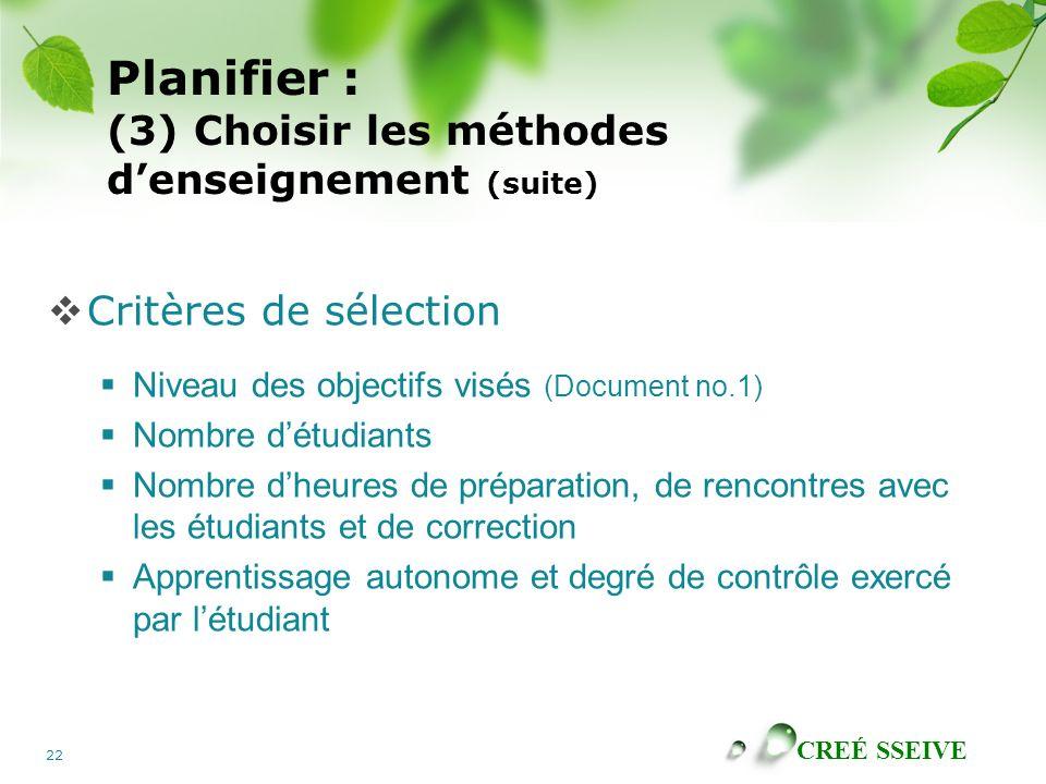 CREÉ SSEIVE 22 Planifier : (3) Choisir les méthodes denseignement (suite) Critères de sélection Niveau des objectifs visés (Document no.1) Nombre détu