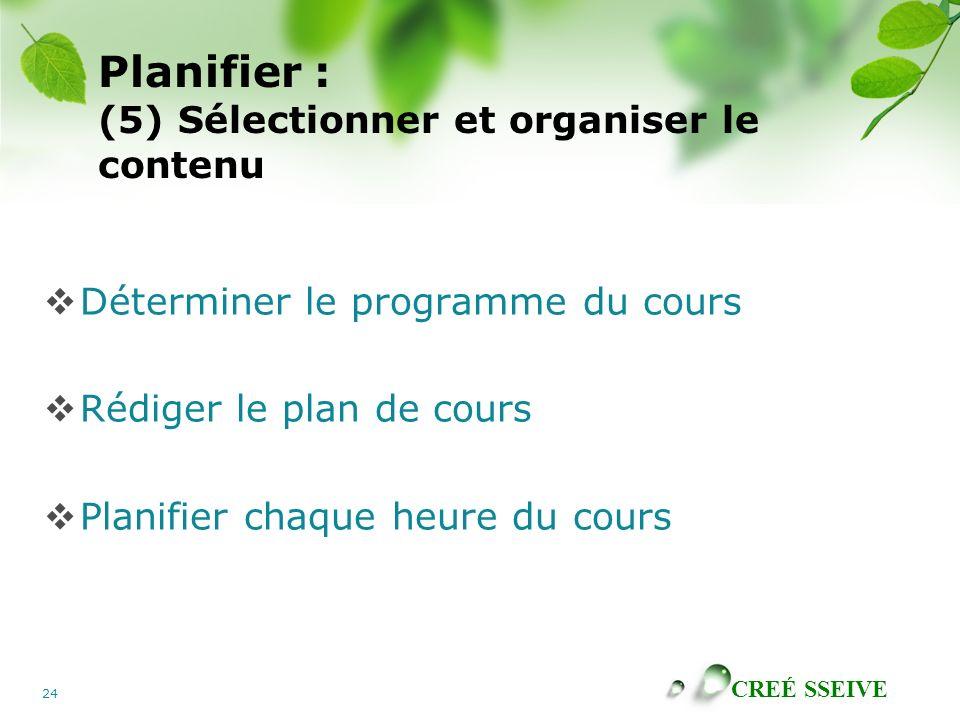 CREÉ SSEIVE 24 Planifier : (5) Sélectionner et organiser le contenu Déterminer le programme du cours Rédiger le plan de cours Planifier chaque heure d