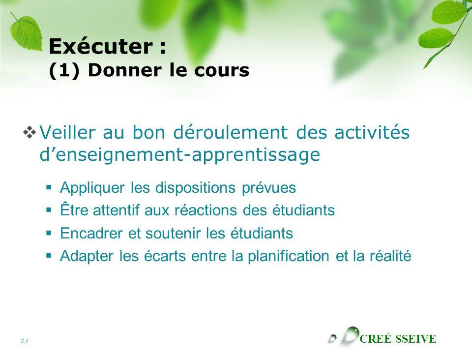 CREÉ SSEIVE 27 Exécuter : (1) Donner le cours Veiller au bon déroulement des activités denseignement-apprentissage Appliquer les dispositions prévues