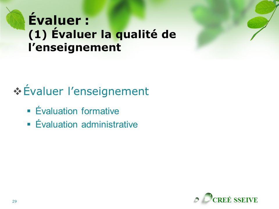 CREÉ SSEIVE 29 Évaluer : (1) Évaluer la qualité de lenseignement Évaluer lenseignement Évaluation formative Évaluation administrative