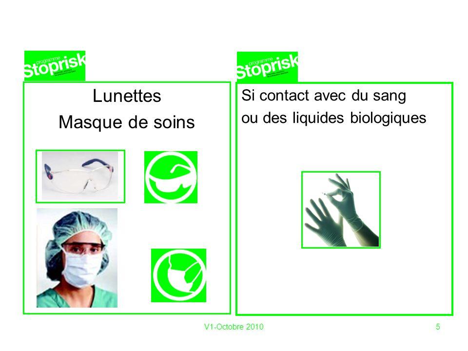 V1-Octobre 20105 Lunettes Masque de soins Si contact avec du sang ou des liquides biologiques