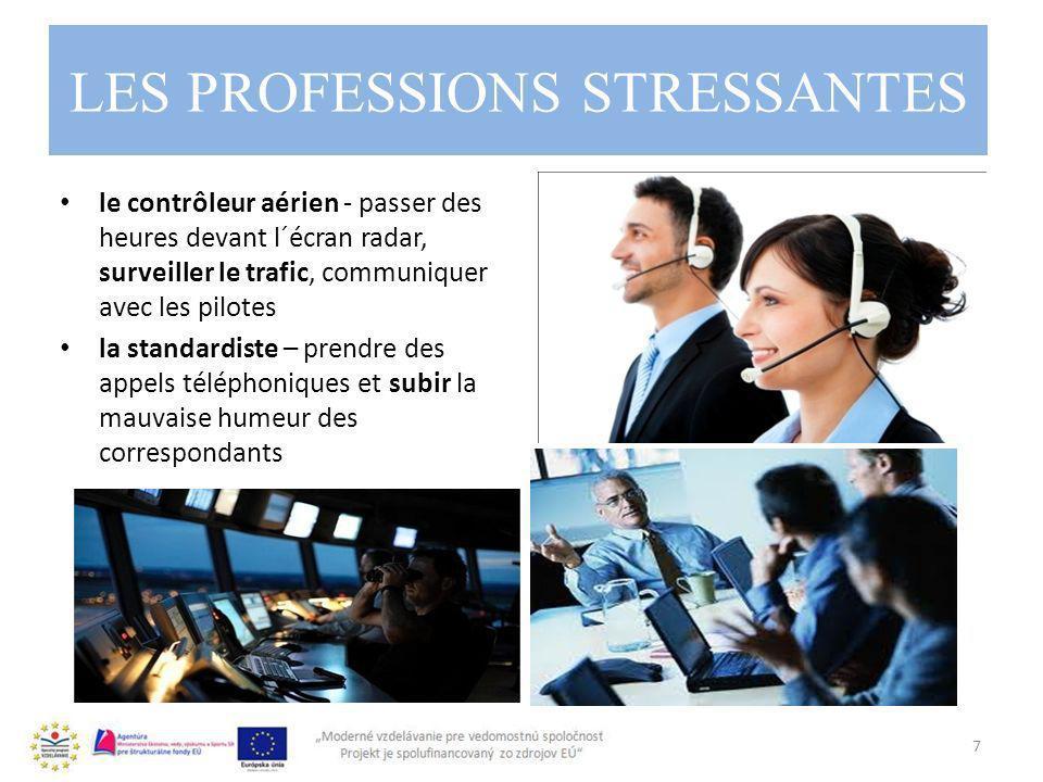 LES PROFESSIONS STRESSANTES 7 le contrôleur aérien - passer des heures devant l´écran radar, surveiller le trafic, communiquer avec les pilotes la standardiste – prendre des appels téléphoniques et subir la mauvaise humeur des correspondants