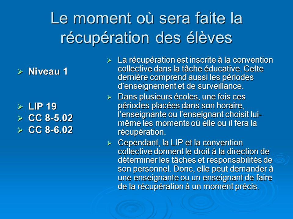 Le moment où sera faite la récupération des élèves Niveau 1 Niveau 1 LIP 19 LIP 19 CC 8-5.02 CC 8-5.02 CC 8-6.02 CC 8-6.02 La récupération est inscrite à la convention collective dans la tâche éducative.