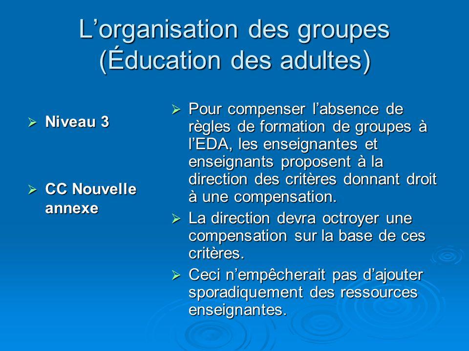 Lorganisation des groupes (Éducation des adultes) Niveau 3 Niveau 3 CC Nouvelle annexe CC Nouvelle annexe Pour compenser labsence de règles de formation de groupes à lEDA, les enseignantes et enseignants proposent à la direction des critères donnant droit à une compensation.