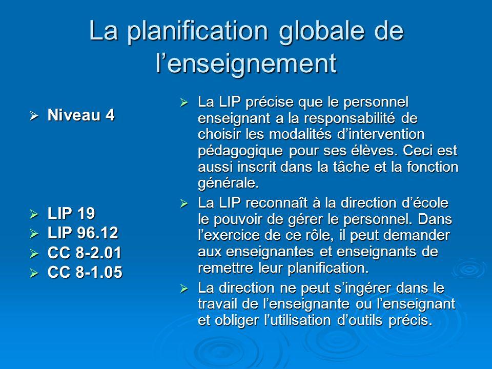 La planification globale de lenseignement Niveau 4 Niveau 4 LIP 19 LIP 19 LIP 96.12 LIP 96.12 CC 8-2.01 CC 8-2.01 CC 8-1.05 CC 8-1.05 La LIP précise que le personnel enseignant a la responsabilité de choisir les modalités dintervention pédagogique pour ses élèves.