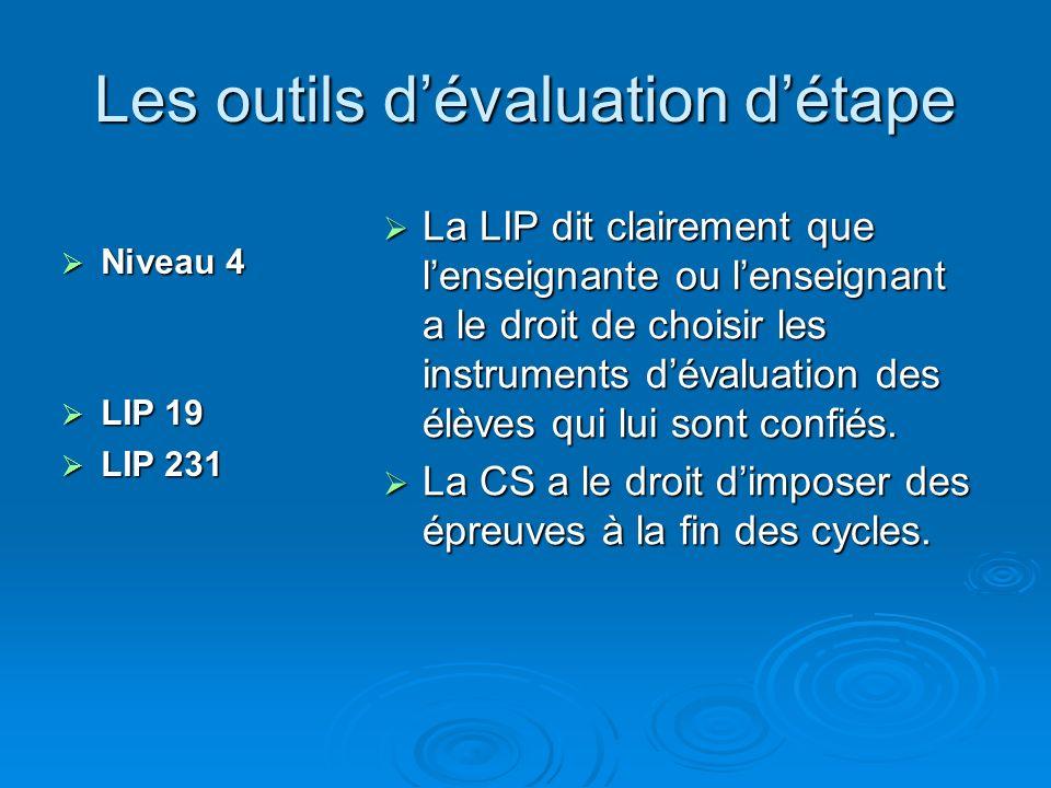 Les outils dévaluation détape Niveau 4 Niveau 4 LIP 19 LIP 19 LIP 231 LIP 231 La LIP dit clairement que lenseignante ou lenseignant a le droit de choisir les instruments dévaluation des élèves qui lui sont confiés.