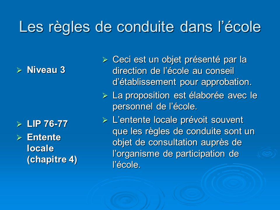 Les règles de conduite dans lécole Niveau 3 Niveau 3 LIP 76-77 LIP 76-77 Entente locale (chapitre 4) Entente locale (chapitre 4) Ceci est un objet présenté par la direction de lécole au conseil détablissement pour approbation.
