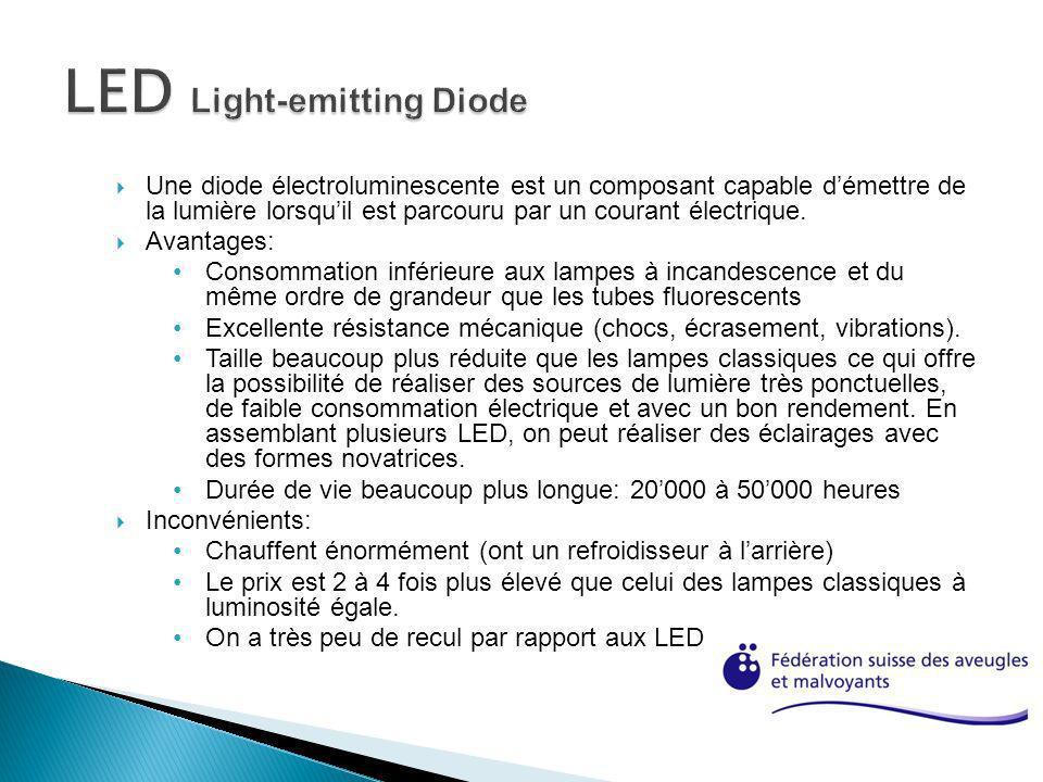 Une diode électroluminescente est un composant capable démettre de la lumière lorsquil est parcouru par un courant électrique. Avantages: Consommation