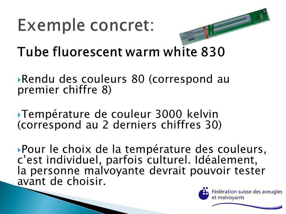 Tube fluorescent warm white 830 Rendu des couleurs 80 (correspond au premier chiffre 8) Température de couleur 3000 kelvin (correspond au 2 derniers c