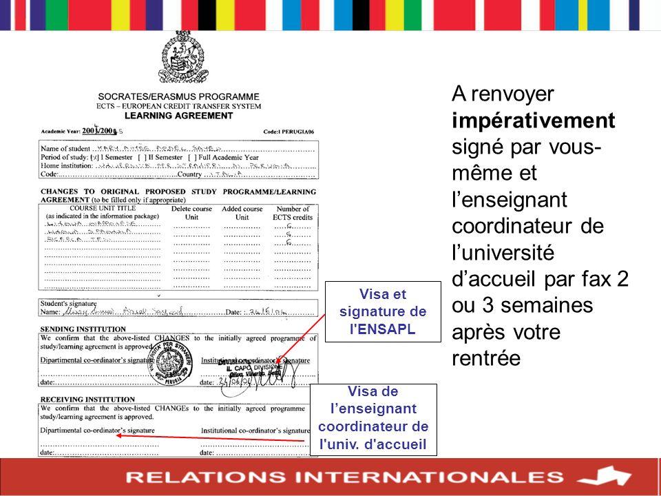 A renvoyer impérativement signé par vous- même et lenseignant coordinateur de luniversité daccueil par fax 2 ou 3 semaines après votre rentrée Visa de