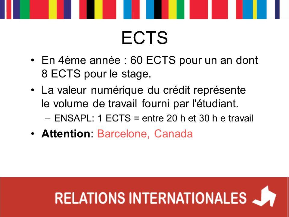 ECTS En 4ème année : 60 ECTS pour un an dont 8 ECTS pour le stage. La valeur numérique du crédit représente le volume de travail fourni par l'étudiant